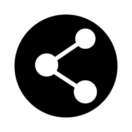 Raster illustratie aandeel pictogram geïsoleerd op een witte achtergrond. Verbinding om zwart-wit symbool, teken. Stockfoto