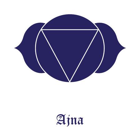 Ajna Chakra symbol raster illustration. The Third Eye Chakra