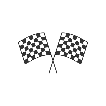 Raster illustration two crossed auto racing flag icon. Finish checkered flag sign, symbol.