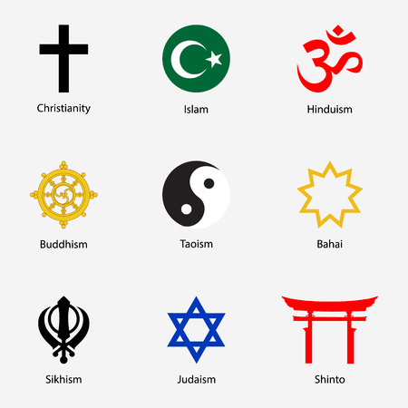 Raster illustration set of Religious symbols with names.