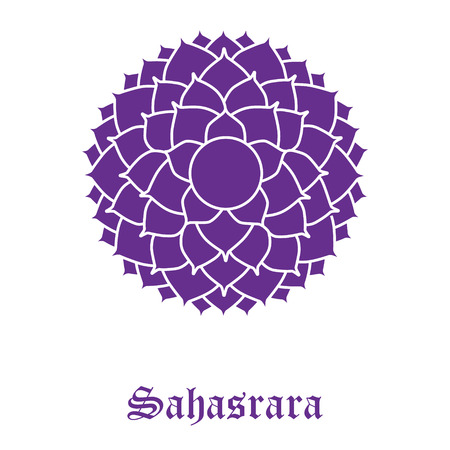 Raster illustration chakra Sahasrara isolated on white background. Crown Chakra 免版税图像