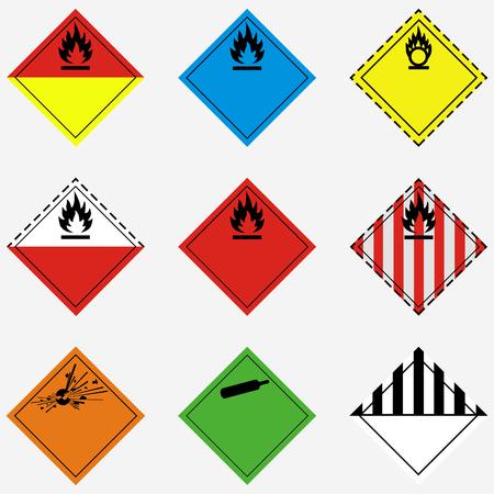 Ensemble d'illustration raster, collection de danger de transport de marchandises, danger, panneau d'avertissement et symboles isolés sur fond blanc