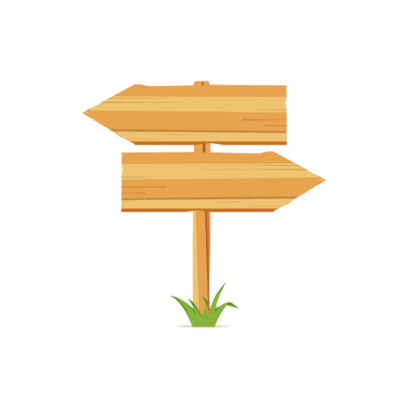 Raster illustration with wooden signboards, wood arrow sign icon.