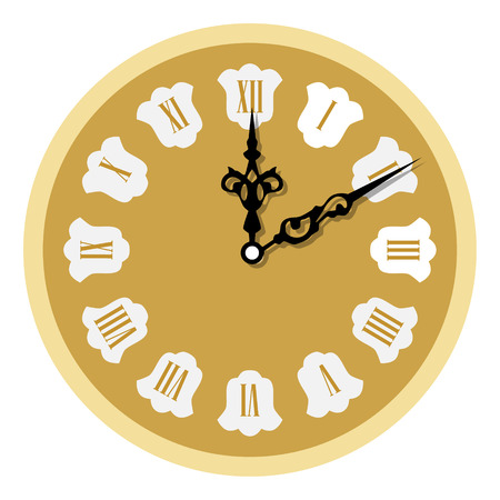 Raster illustration elegant golden wall clock with vintage hour hand isolated on white background. Clock on wall shows eight oclock. Roman numeral clock Banco de Imagens