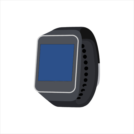 Raster illustration smartwatch wearable computer accessory for time keeping and basic tasks wristwatch realistic black. Stock Photo