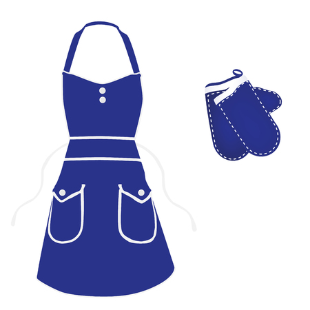 Set of blue female kitchen apron and gloves isolated on white background