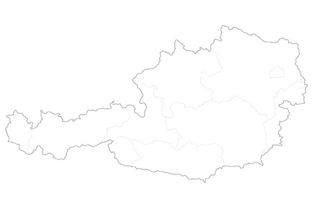 Vector illustration map of Austria federal states isolated on white background.