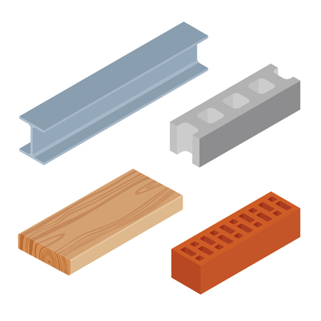 Vector illustration isometric realistic rasped wooden timber plank for building construction or flooring. Construction steel beam for architectural works. Cement block and brown bricks