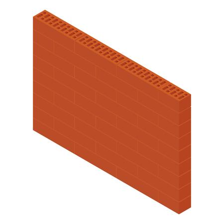 Vector illustratie isometrische bakstenen muur geïsoleerd op een witte achtergrond. Nieuwe rode geperforeerde keramische baksteen die op wit wordt geïsoleerd