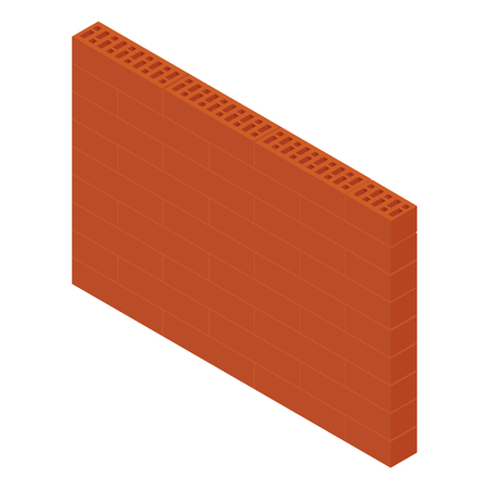 Vector illustration isometric brick wall isolated on white background. New red perforated ceramic brick isolated on white Illusztráció