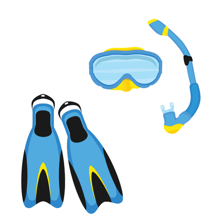 Blue diving maks, diving tube, swimming equipment, flippers isolated on white background.