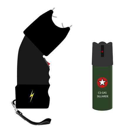 Vector bottle of pepper spray and taser isolated on white background. Pepper gas spray and electoshock. Weapon icon set Illustration