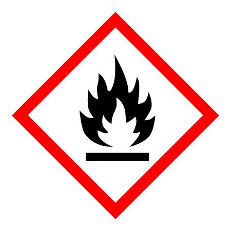 Ilustración vectorial pictograma de peligro de GHS - inflamable, señal de advertencia de peligro icono inflamable aislado sobre fondo blanco