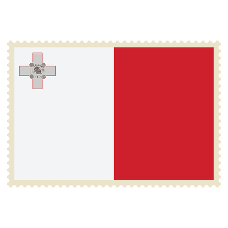 Vector icon of Malta flag on postage stamp isolated on white background.