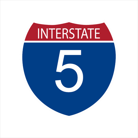 Vector illustration interstate highway 5 road sign icon isolated on white background