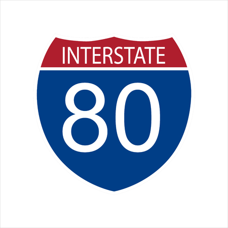Vector illustration interstate highway 80 road sign icon isolated on white background