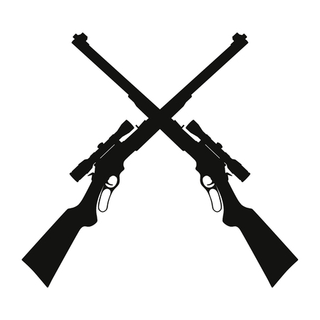 Vector illustration of two crossed sniper rifle guns Illustration