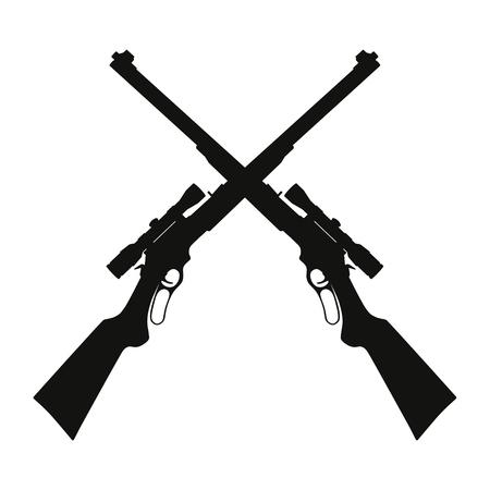 Vector illustration of two crossed sniper rifle guns Ilustração