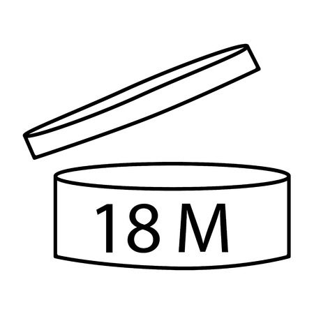 Vector illustration cosmetics symbol design. Period of validity after opening icon. Expiration date after product opening symbols. 18 M