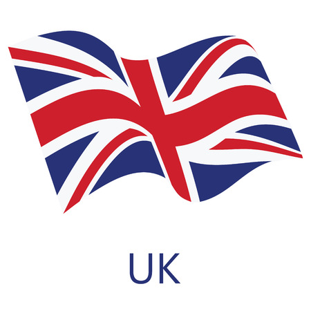 Vector illustration waving flag of United Kingdom of Great Britain icon. UK flag button isolated on white background Çizim