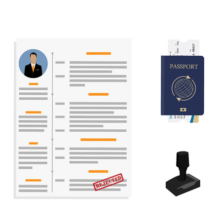 Vector illustration stamping rejected. Passport  application Travel immigration stamp