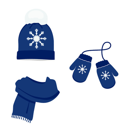 Blue winter clothes with snowflake. Knitted hat, scarf and mittens. Vector icon set Illustration