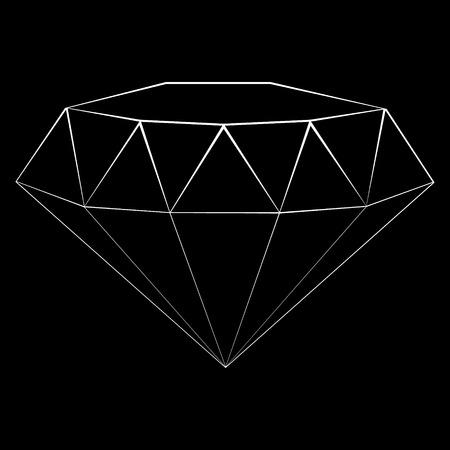 Raster illustration diamond outline icon. Modern minimal flat design style. Thin line