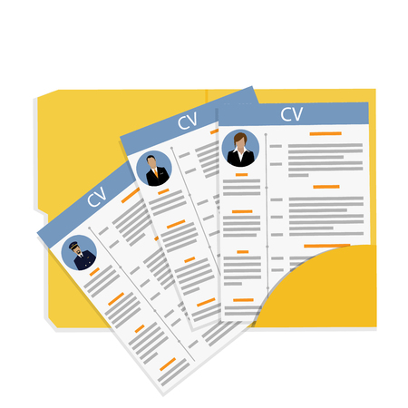 Raster illustration job competition, searching, interview concept with business cv. Stock Photo