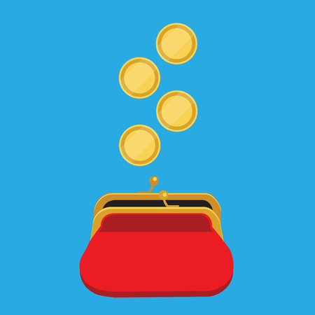 Raster illustration golden coins falling in red retro purse isolated on blue background. Dollars dropping in open purse. Saving money concept