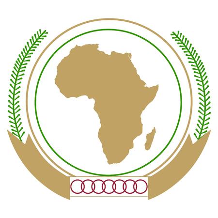 Raster illustration African Union emblem icon isolated on white background.