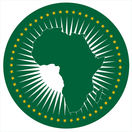 Raster illustration African Union flag icon isolated on white background. Round national flag of African Union. AU flag button