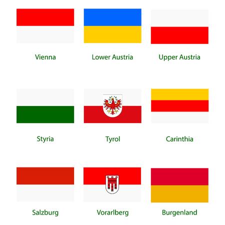 Raster icon set, collection Austria federal states flags. Burgenland, Vorarlberg, Salzburg, Tyrol, Carinthia, Styria, Lower and Upper Austria. Stock Photo