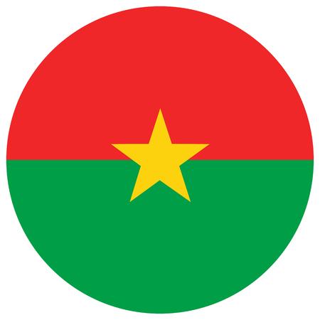 Raster illustration Burkina Faso flag icon isolated on white background. Round national flag of Burkina Faso. Flag button
