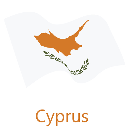 Raster illustration waving flag of  Cyprus icon. Cyprus flag button isolated on white background