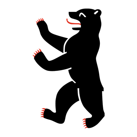 Raster illustratie symbool van Berlijn, Duitsland Bear geïsoleerd op een witte achtergrond.