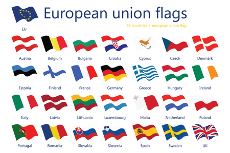 Raster illustration set of european union flags with names. 29 flags eu flag.
