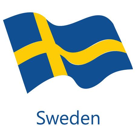 Raster illustration waving flag of Sweden icon. Sweden flag button isolated on white background