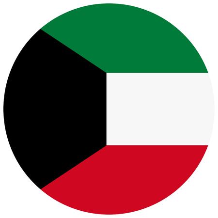 Raster illustration Kuwait flag icon isolated on white background. Round national flag of Kuwait. Flag button