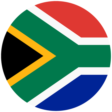 Icona rotonda della bandiera del Sudafrica dell'illustrazione del quadro televisivo isolata su fondo bianco. Bandiera nazionale del pulsante Sudafrica Archivio Fotografico - 94070775