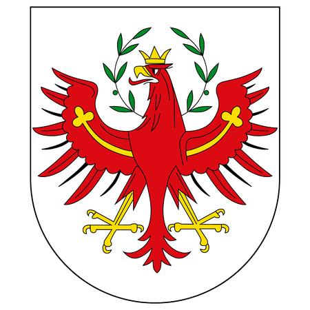 ●白い背景に隔離されたチロルの腕旗のラスターアイコンコート。オーストリアのチロル連邦州 写真素材