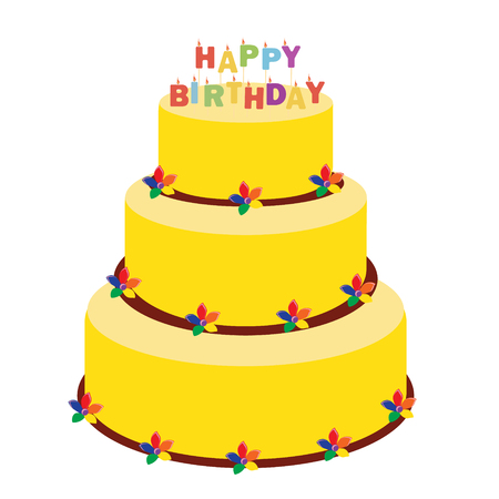 Raster illustration happy birthday greeting car with cake and candles.