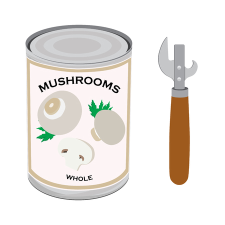 Raster illustration can with whole champignon mushrooms and can opener isolated on white background. Canned food Imagens