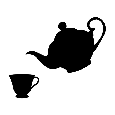 Raster illustration black silhouette of teapot and cup of tea icon isolated on white background. Stock Photo