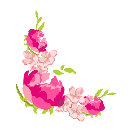 Raster flower frame corner isolated on white background. Soft pink peony flowers