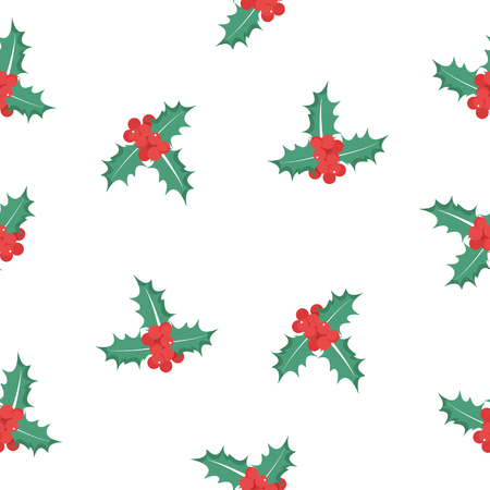 Raster illustration  pattern, background Holly berry leaves Christmas icon. Stock Photo