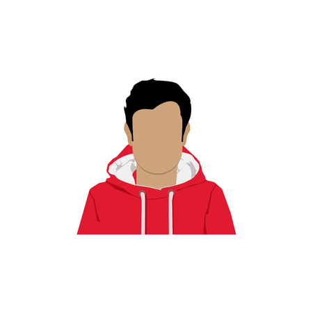 Raster illustration male, man avatar profile icon in sport clothes. Flat design character Stock Photo