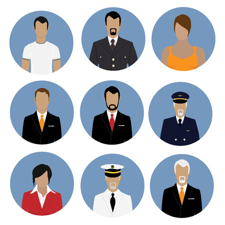 Raster illustration set of professions people. Flat style icons. Occupation avatar. Businessman, sea captain, pilot, soldier, businesswoman, general Imagens