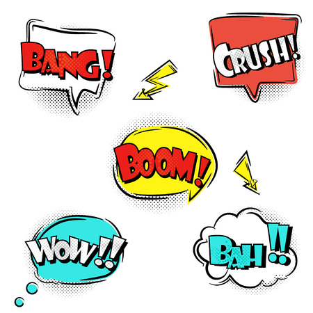 Raster icon set, collection comic bubble boom, bang, wow, bah and crush. Comic sound effect Stock Photo
