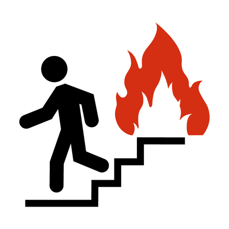 Raster illustration do not use elevator in case of fire sign, symbol. In case of fire use the stairs icon isolated on white background 스톡 콘텐츠