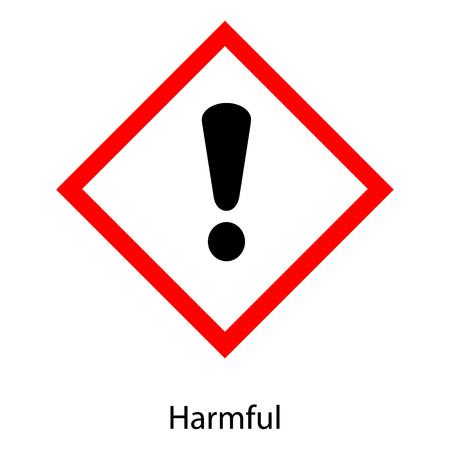 Raster illustration GHS hazard pictogram - harmful , hazard warning sign harmful icon isolated on white background